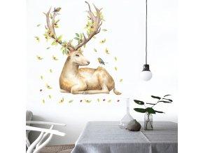 Samolepka na zeď Ležící jelen