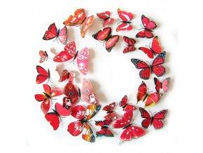 Motýlci magnet a samolepka Červení