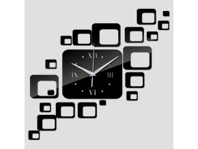 Čtvercové nástěnné hodiny střídmé černé