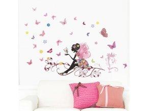 samolepka Víla s motýlky