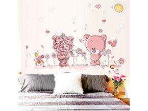 samolepka na zeď Růžoví medvídci