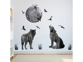 samolepka na zeď Vlci vyjí na Měsíc
