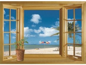 samolepka na zeď Okno na pláži