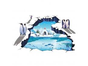 samolepka na zeď Ledový svět lední medvěd tučňák delfín