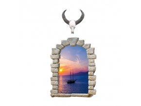 samolepka na zeď Okno s výhledem na plachetnici