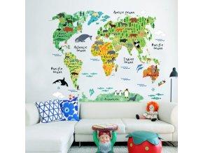 Samolepka Dětská mapa Světa