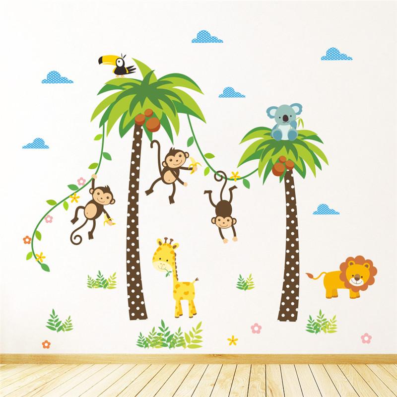 Živá Zeď Samolepka Opičky na palmě 118 x 106 cm