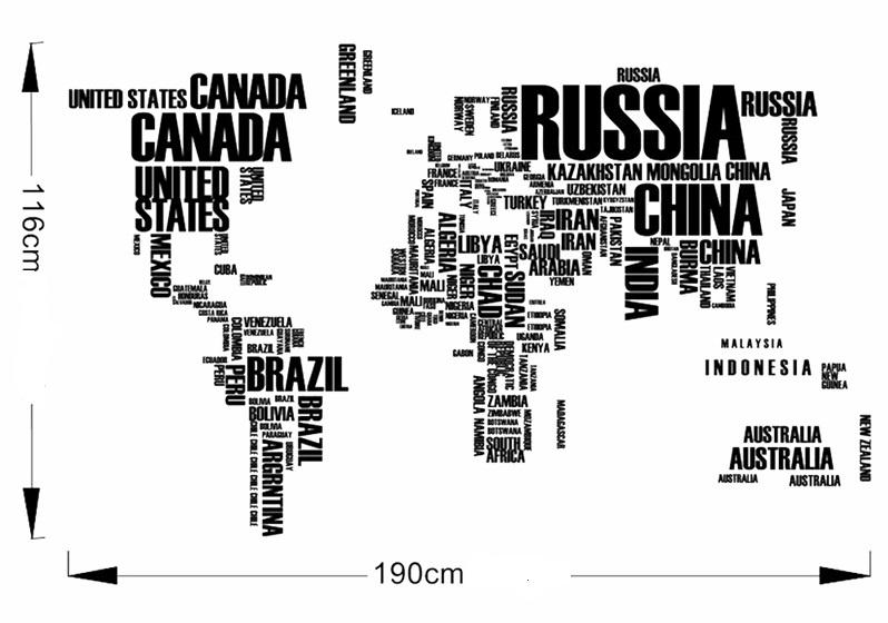 Živá Zeď Samolepka mapa světa 190 x 116 cm