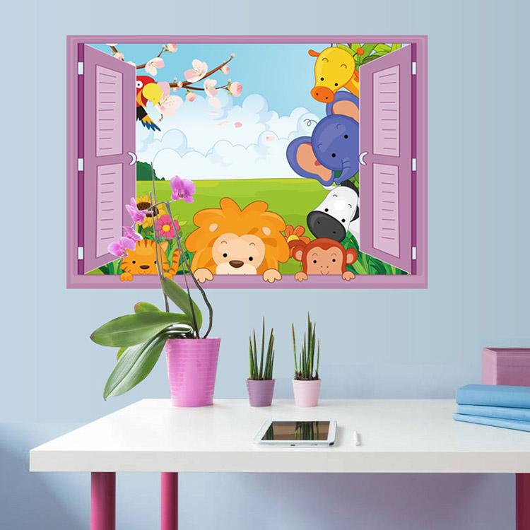 Živá Zeď Samolepka zvířátka ze ZOO v okně 70x 50 cm