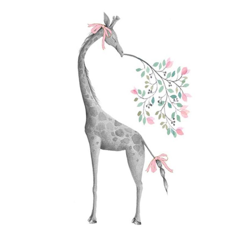 Živá Zeď samolepka Žirafa s mašlí 100 x 65 cm
