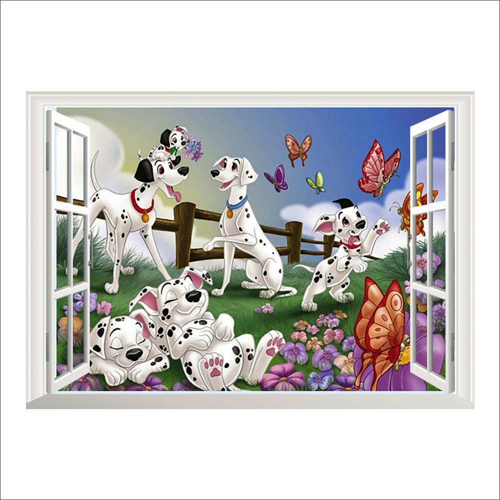 Živá Zeď Samolepka 101 Dalmatinů v okně 70 x 50 cm