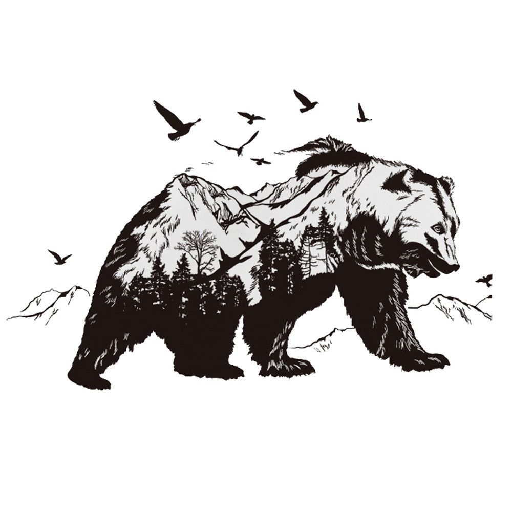 Živá Zeď samolepka Medvěd 122 x 68 cm