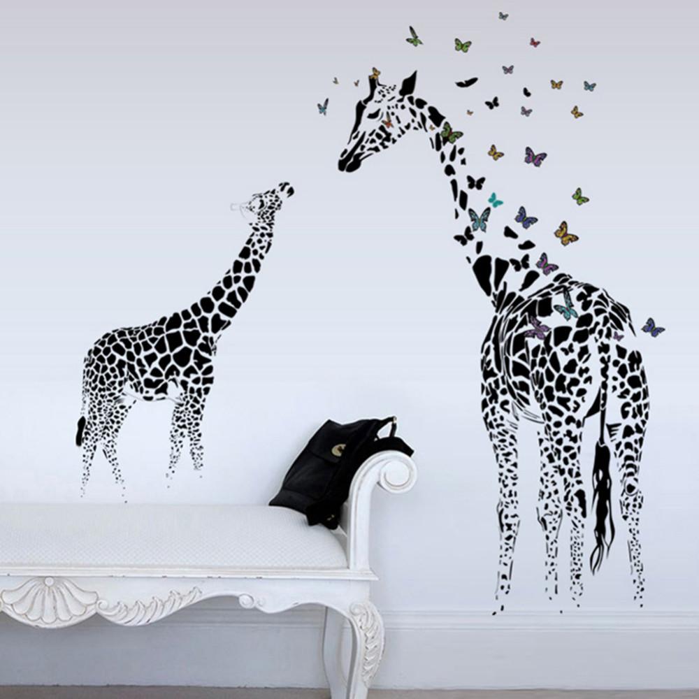 Živá Zeď samolepka Malá a velká Žirafa s motýlky 130 x 115 cm