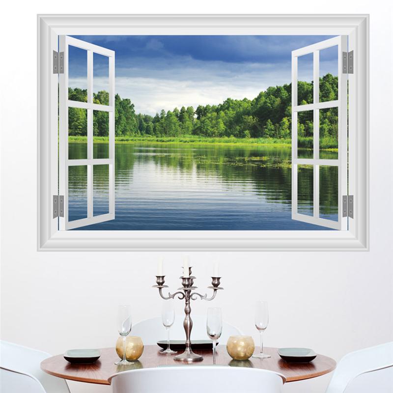 Živá Zeď samolepka Okno s výhledem na jezero 70 x 50 cm