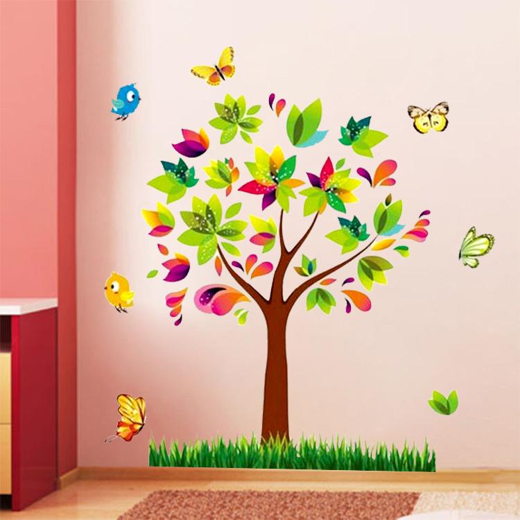 Živá Zeď Samolepka Barevný strom 80 x 70 cm