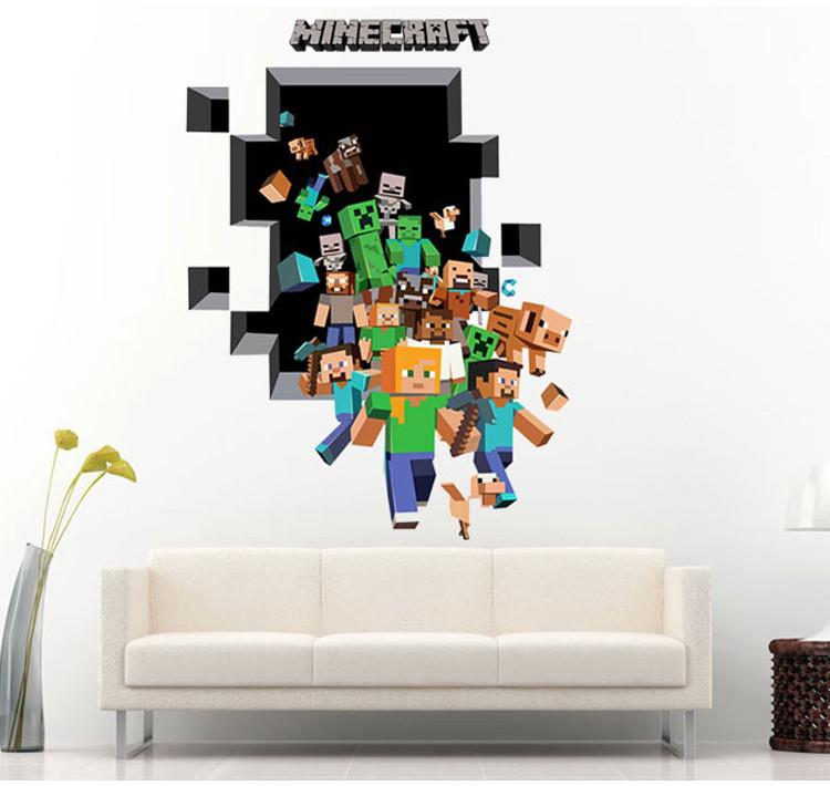 Živá Zeď Samolepka Minecraft díra 112 x 84 cm