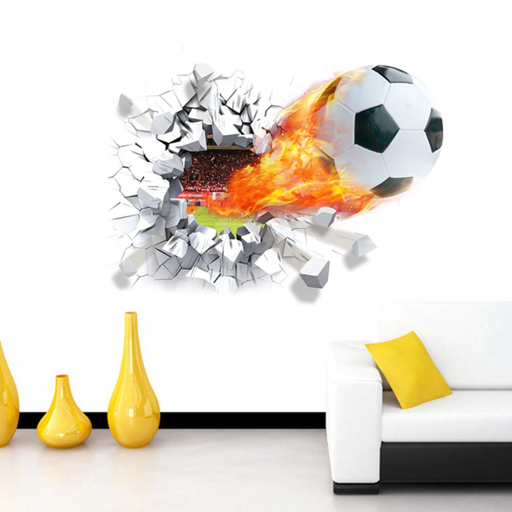 Živá Zeď samolepka Ohnivý fotbalový míč 70 x 50 cm