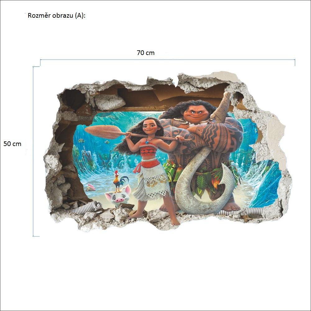 Živá Zeď Samolepka Odvážná Vaiana Velikost: 70 x 50 cm