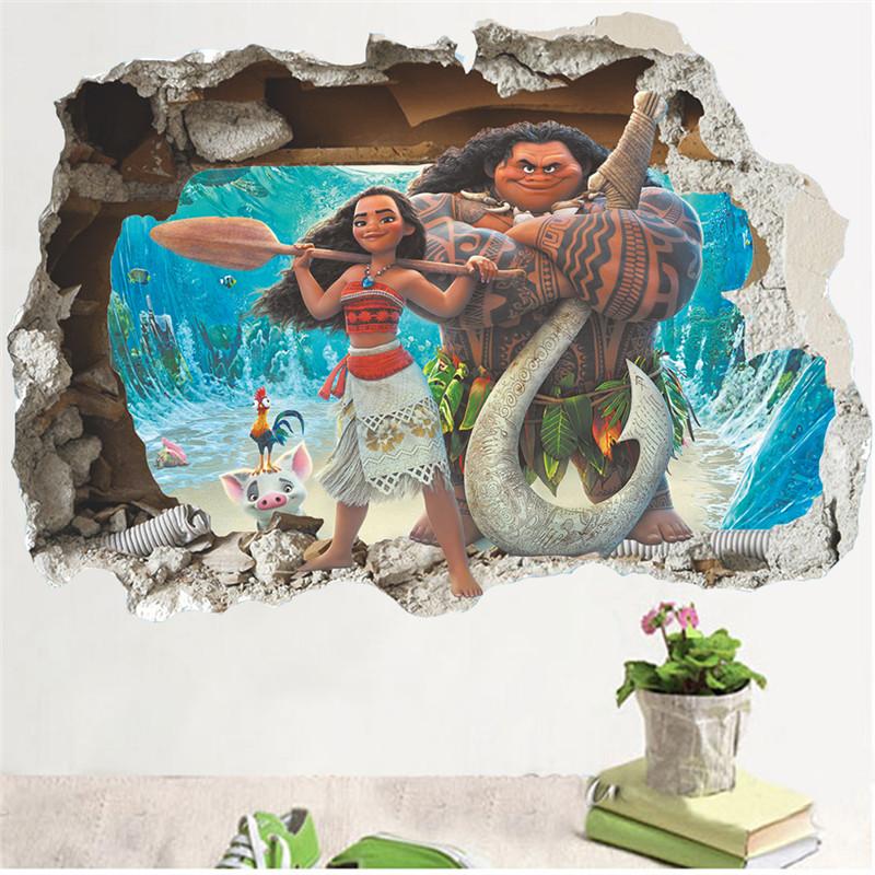Živá Zeď Samolepka Odvážná Vaiana 90 x 60 cm