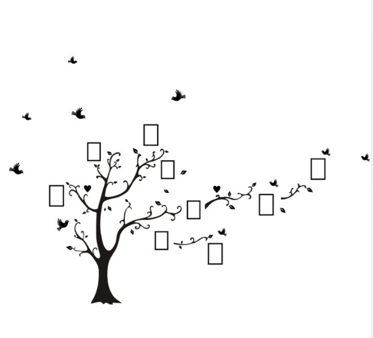 Živá Zeď Samolepka Strom vzpomínek Velikost: 260 x 200 cm PRAVÝ