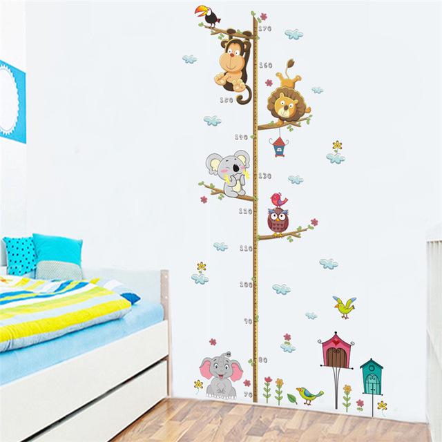 Živá Zeď samolepka Dětský metr zvířátka ze ZOO 108 x 57 cm