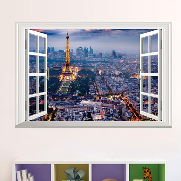 Živá Zeď Samolepka Okno s výhledem na Paříž 60 x 40 cm