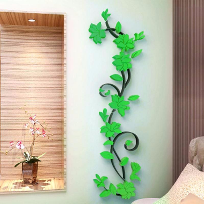 Živá Zeď Samolepka 3D Kytky - 7 barev Velikost: Zelená 24 x 80 cmZelená
