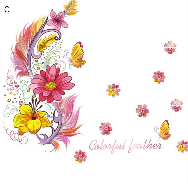 Živá Zeď Samolepka Barevná pírka - 3 motivy Barva: Růžová