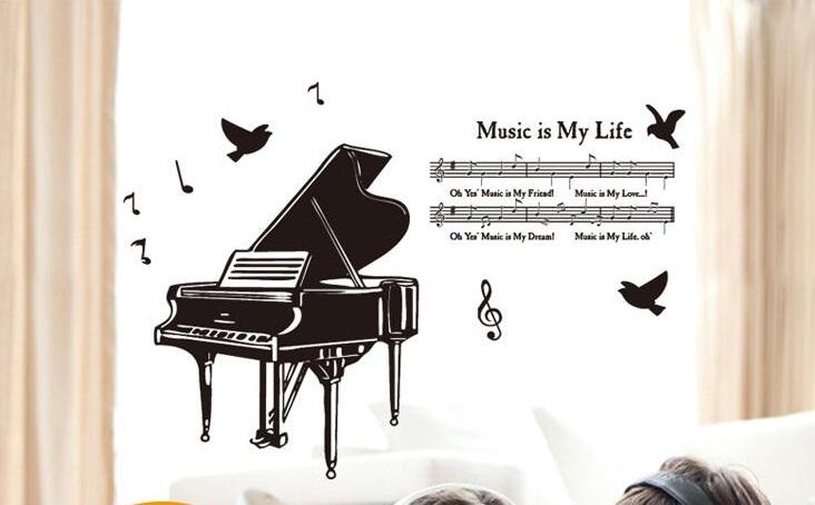 Živá Zeď Samolepka Klavír 130 x 80 cm