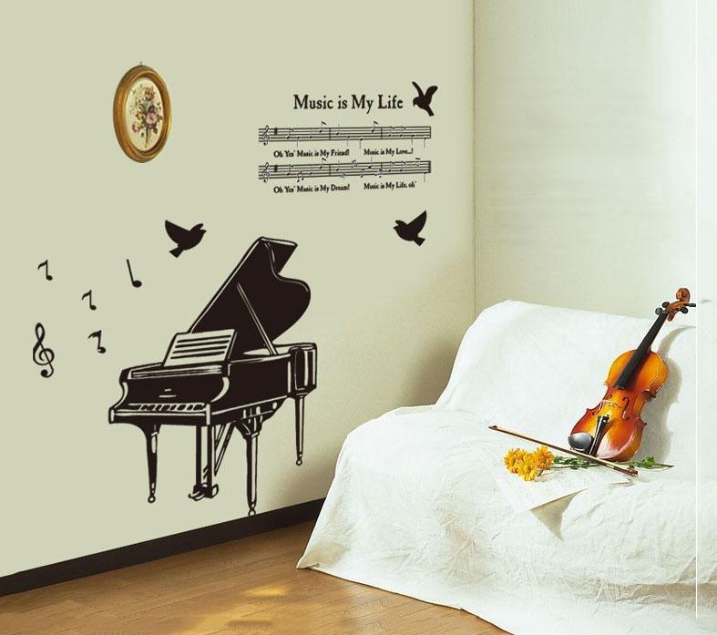 Živá Zeď Samolepka Klavír %%130 x 80 cm