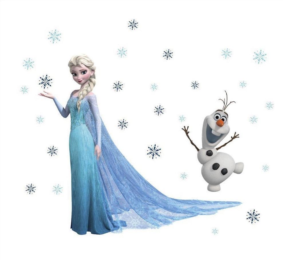 Živá Zeď Samolepka Elsa a Olaf Ledové království 78 x 65 cm 55 x 32 cm