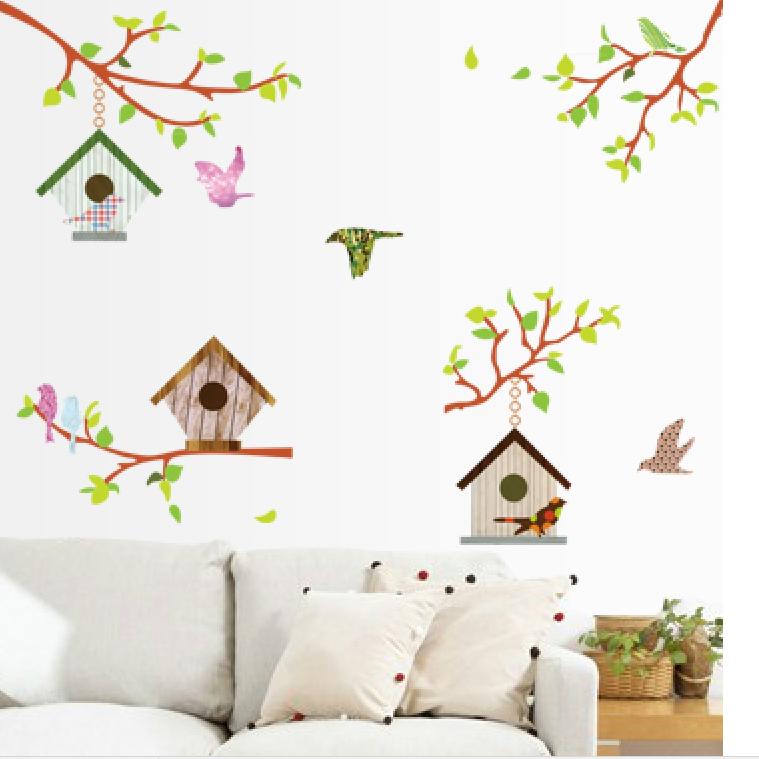 Živá Zeď Samolepka Ptačí budky 130 x 100 cm