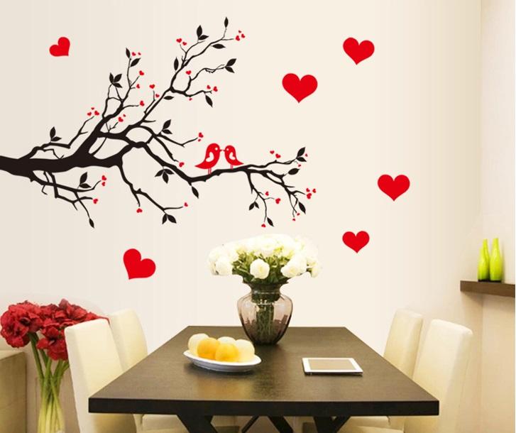 Živá Zeď samolepka Zamilovaní ptáčci na větvi 85 x 60 cm