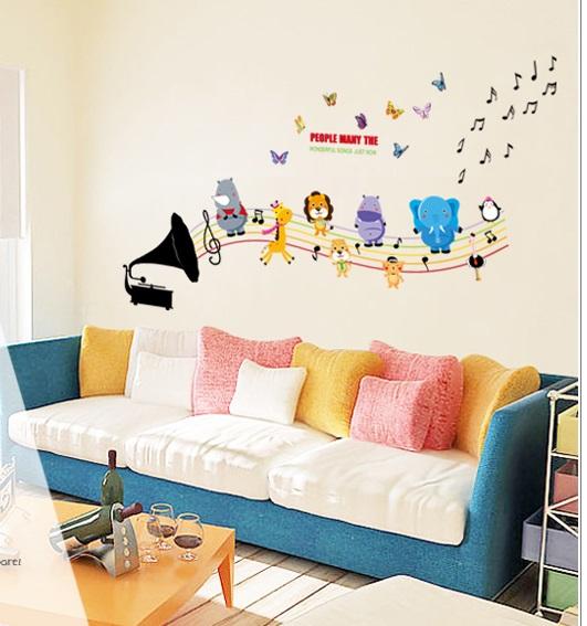 Živá Zeď Samolepka Dětský gramofon se zvířátky 130 x 78 cm