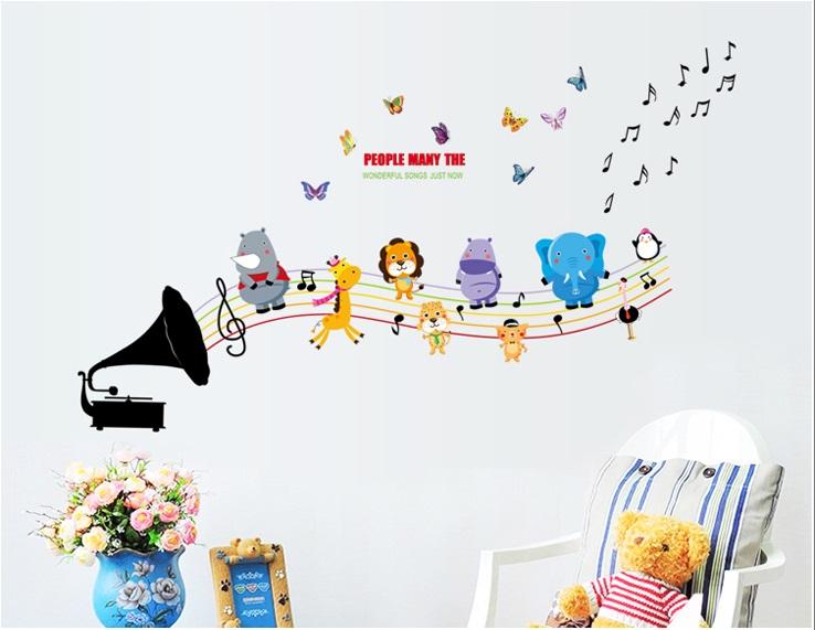 Živá Zeď Samolepka Dětský gramofon se zvířátky %%130 x 78 cm