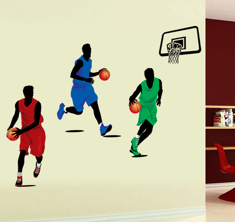 Živá Zeď Samolepka Hráči basketbalu