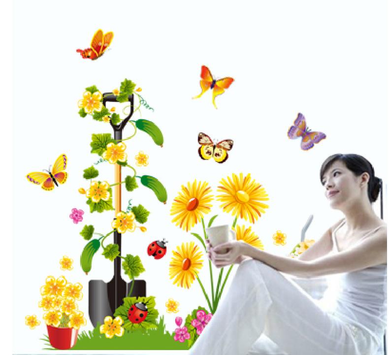 Živá Zeď Samolepka Rýč s květy 90 x 70 cm