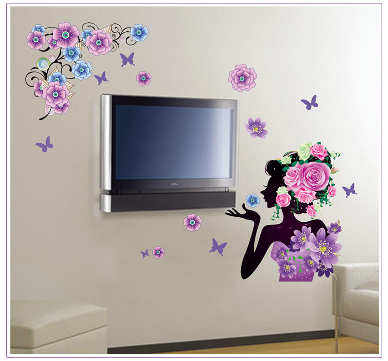 Živá Zeď Samolepka Květinová dáma 140 x 90 cm