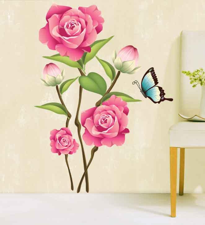 Živá Zeď Samolepka Růžové růže 70 x 50 cm