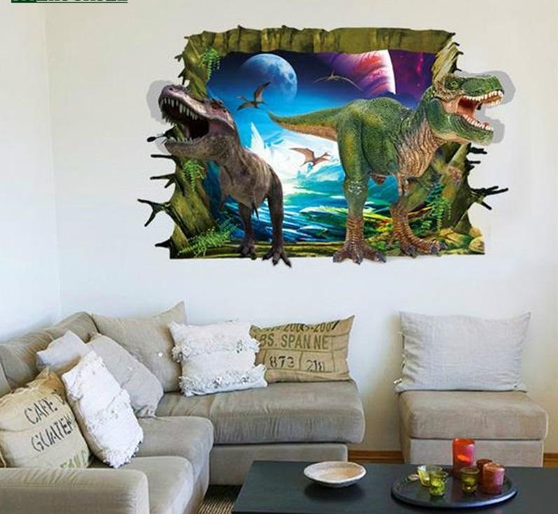 Živá Zeď Samolepka 3D Dinosauři útočí 90 x 60cm
