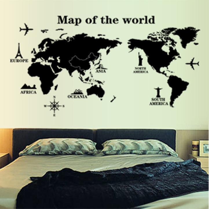 Živá Zeď Samolepka Mapa celého Světa 120 x 60 cm