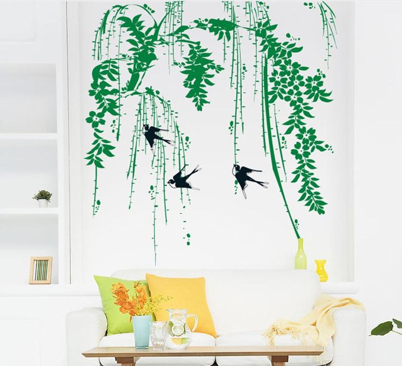 Živá Zeď Samolepka Vlaštovky v korunách stromů 85 x 70 cm