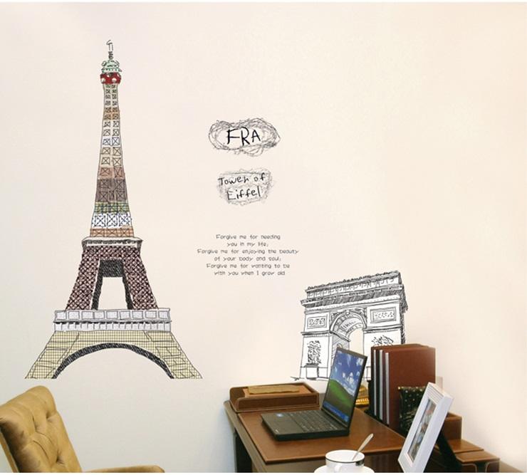 Živá Zeď Samolepka Eiffelova věž %% 90 x 60 cm