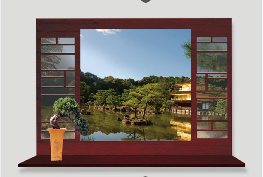 Živá Zeď Samolepka Okno do Asie v létě %%90 x 60 cm