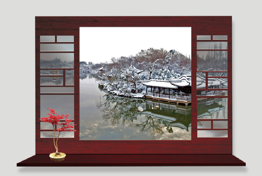 Živá Zeď Samolepka Okno do Asie v zimě 90 x 60 cm
