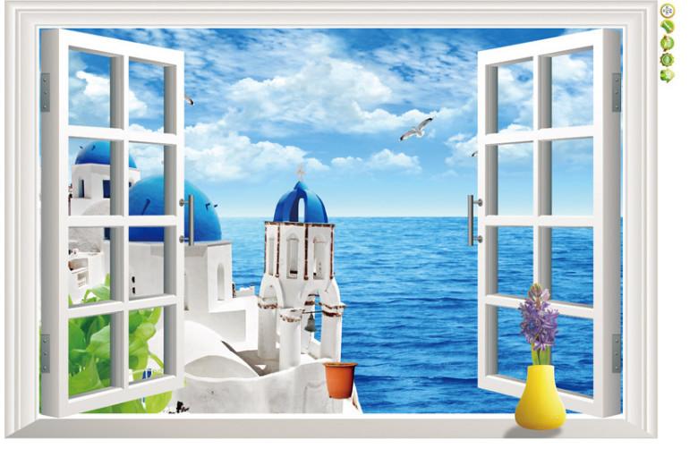 Živá Zeď Samolepka Okno s výhledem na Řecko %%90 x 60 cm