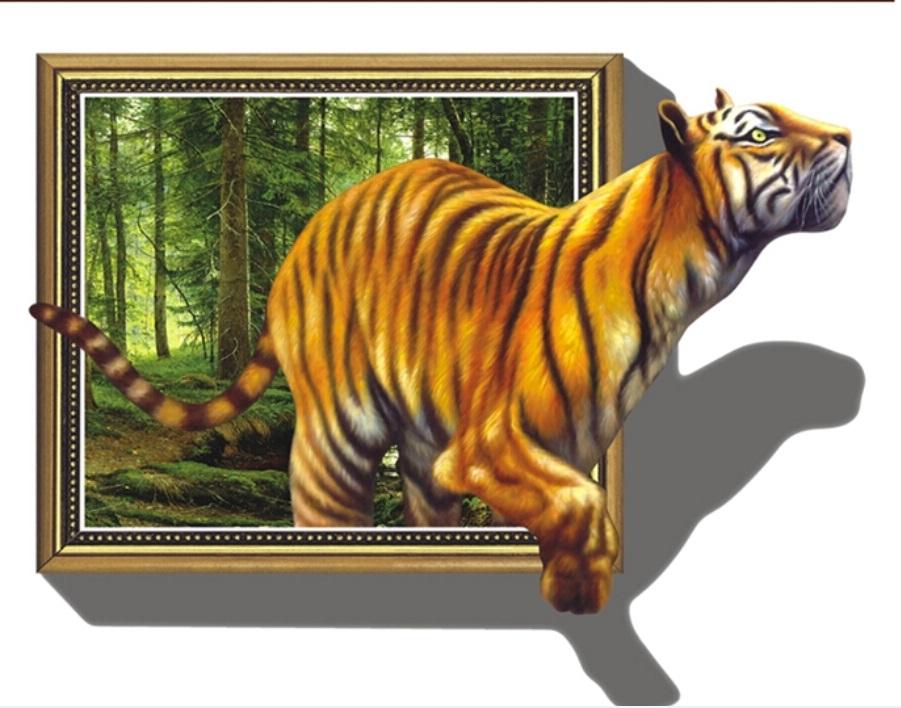 Živá Zeď Samolepka Tygr v obraze 100 x 70 cm