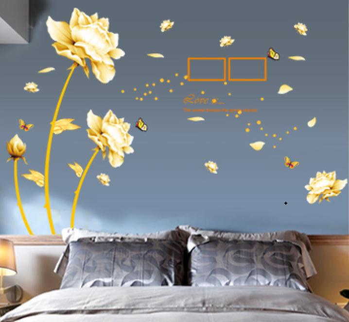 Živá Zeď Samolepka Vanilkové květy s rámečky 90 x 60 cm