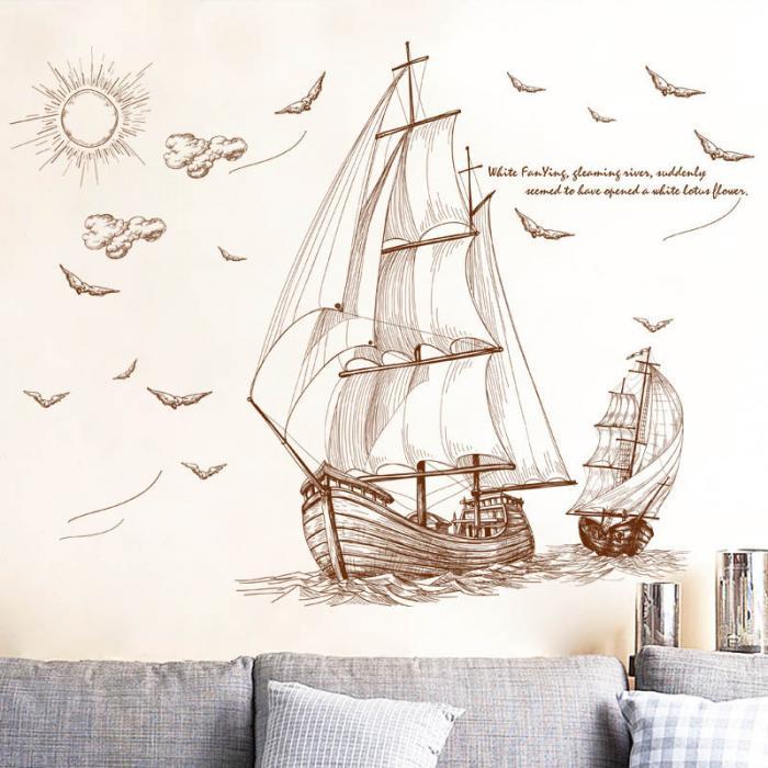 Živá Zeď Samolepka Pirátské plachetnice 120 x 89 cm %%