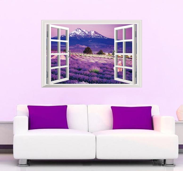 Živá Zeď Samolepka Fialový ráj v okně 90 x 60 cm